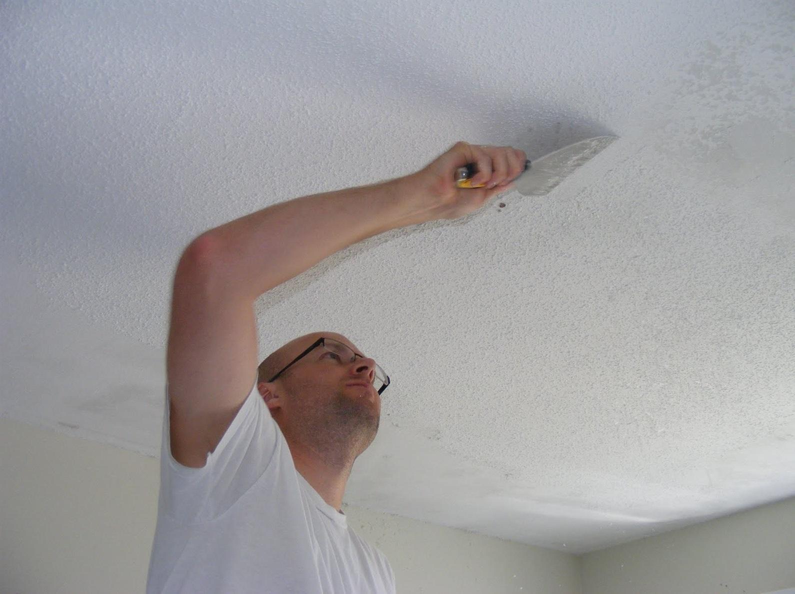 Быстрая побелка потолка своими руками 98